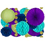 20 Pcs Hanging Party Decoration Supplies Kit in Purple, Teal, Blue, Green, and Gold -Includes 4 Tissue Fans, 4 Lanterns, 4 Honeycombs, 4 Pom Pom Flowers, and 4 Strings of Dot Garland (Color: Purple)