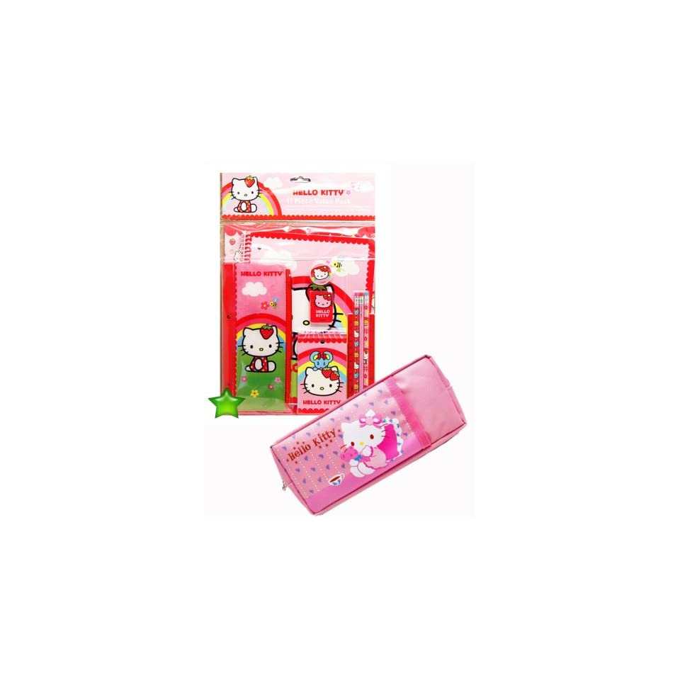 Hello Kitty 11 Pcs Stationery Set+Pink Hello Kitty Pencil Bag