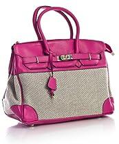 Big Handbag Shop Womens Key Lock Effect Handbag Pink