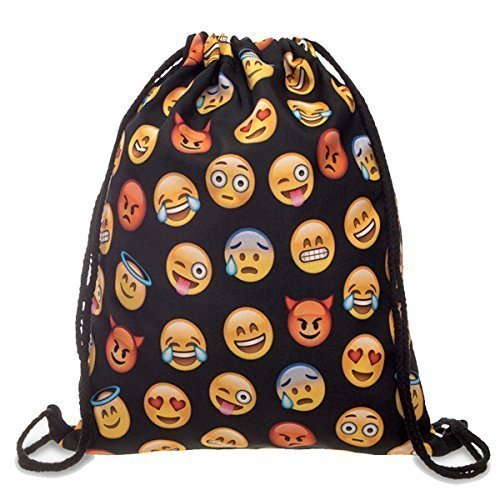 Dimayar 18''X13.75'' Emoji Sackpack Team Training Gymsack Drawstring Backpack Sack Bag for Girls for Kids School Backpacks (Emoji Draw compare prices)
