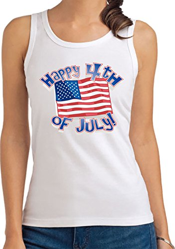 4th Of July Independence Day Of United States Donna Canotta T-Shirt Bianco Manica corta Tutte Le Taglie | Women's Tank T-Shirt Top