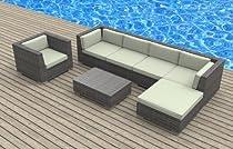Hot Sale Urban Furnishing - LANAI 7pc Modern Outdoor Backyard Wicker Rattan Patio Furniture Sofa Sectional Couch Set - Beige