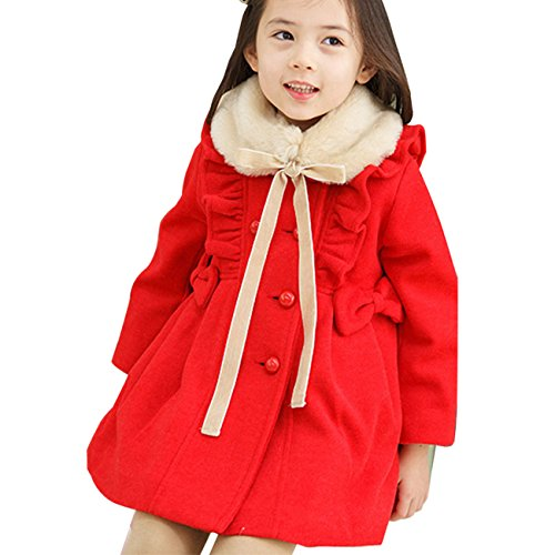 Little Hand Little Girls' Turtle Neck Lacework With Button Design Dress Coat front-865907