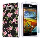 LG Optimus Showtime L86C White Protective Case + Screen Protector By SkinGuardz - Black Rose Garden