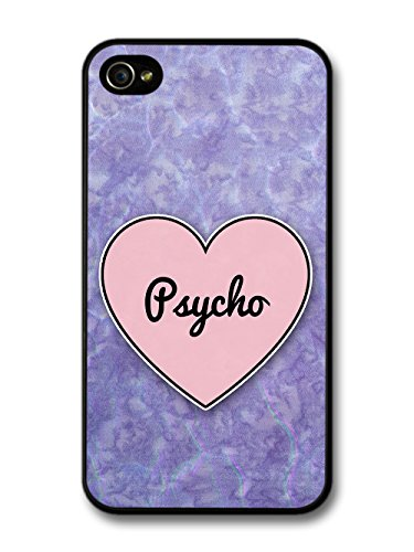Psycho Heart in Lilac Grunge Hipster Background custodia per iPhone 4 4S