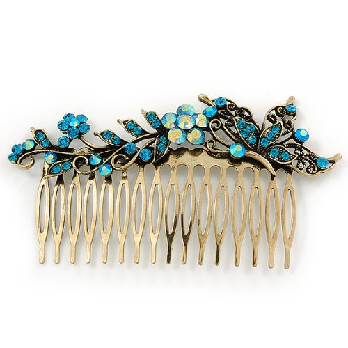 Vintage Inspired Teal Blue Swarovski Crystal 'Flower & Butterfly' Side Hair Comb In Antique Gold Tone - 115mm 4