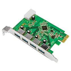 Uspeed Superspeed USB 3.0 PCI-E Express Card with 4 USB 3.0 Ports and 4-Pin Power Connector for Desktops [one step to PC upgrade your PC to USB 3.0]