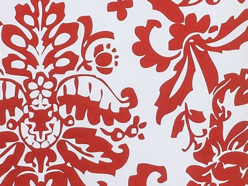 Red & White Damask Paisley Flourish Gift Wrapping Paper - 16 Foot Roll front-695083