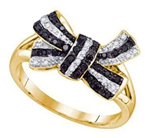 Pricegems 10K Yellow Gold Ladies Black and White Natural Round Brilliant Diamond Fancy Pave Set 'Classics' Bow Split Shank Engagement Wedding Promise Ring (Black and White Natural Diamonds: 0.22 cttw, I1/I2 Clarity)