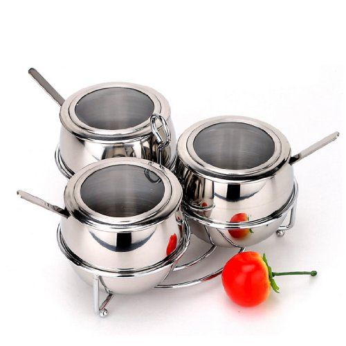 Fashion stainless steel spice jar bottle seasoning box sugar sambonet seasoning box set 3 stainless steel spoon