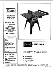 craftsman 113 table saw manual