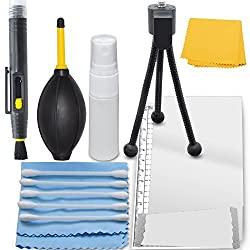 Professional Maintenance Kit For Canon EOS 1200D (EOS Rebel T5 / EOS Kiss X70) - Mini Tabletop Tripod + LCD Screen Protector + Cleaning Set, Cleaning Tools And Accessories