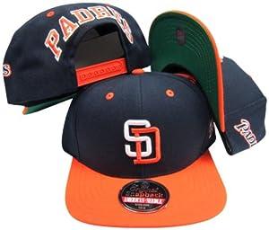 San Diego Padres Navy Orange Two Tone Plastic Snapback Adjustable Snap Back Hat Cap by American Needle