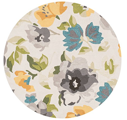 Loloi Rugs Francesca Collection Round Transitional Area Rug, 3-Feet by 3-Feet, Grey/Yellow