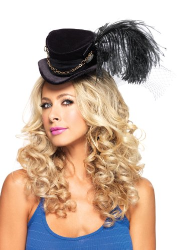 Leg Avenue Steampunk Top Hat With Chain And Feather Accent, Black, One Size