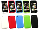 EMARTBUY APPLE IPHONE 3G / 3GS BUNDLE PACK OF 5 SILICON CASE/COVER/SKIN - WHITE, RED, BLUE , GREEN AND BLACK