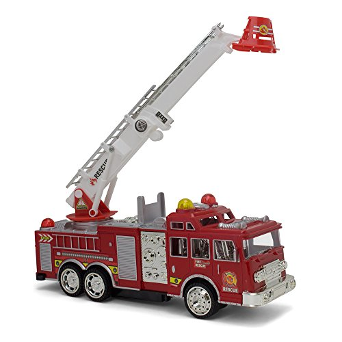 Bump And Go Electric Rescue Fire Engine Ladder Truck - Kids Action Toy With Lights And Sounds - Changes Direction On Contact (Electric Engines compare prices)