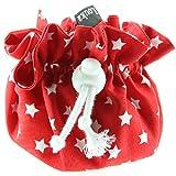 Louka Estuche para chupetes colour rojo y blanco estrellas café con diseño de bebé Niños & Niña - para tentempié con diseño de con clip para guardar el chupete