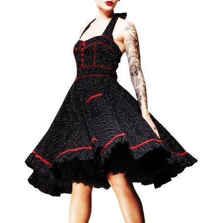 HELL BUNNY Swing 50s DRESS VANITY Black POLKA DOT All Sizes