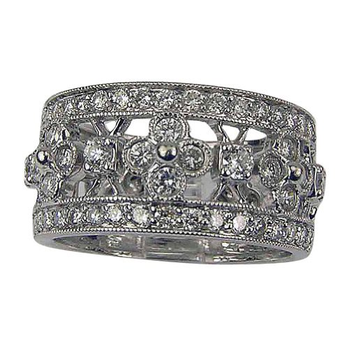 Black Friday Wide Wedding Band Antique Diamond Ring