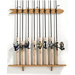 Organized fishing modular wall rack fishing for Wall fishing pole holder