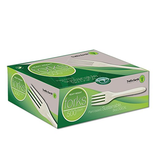 Trellis Earth TRR-CC65-500 Heavyweight Bioplastic Fork Retail Box, 6″ Length, Natural (Pack of 500)
