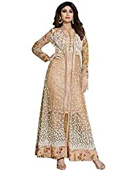 Vh Fashion Shilpa Shetty Gorgeous Beige Self Resham Embroidered Floor Length Anarkali Suit