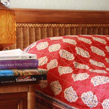 Spice Route ~ Unique Red Orange Luxury Moroccan Quilt Bedspread 108X90 front-795515
