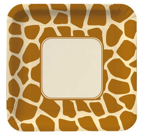 Creative Converting Animal Print Giraffe Square Dinner Plates, 8 Count