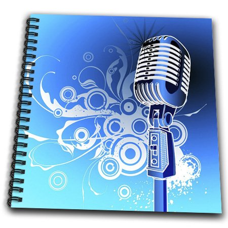 Db_100490_2 Florene Music - Microphone N Scrolls In Blue Aqua N Silver - Drawing Book - Memory Book 12 X 12 Inch