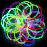 """Dennov 8"""" 300 Glow Sticks Lights Bracelets Necklaces & Connectors, Party Favors Supplies"""