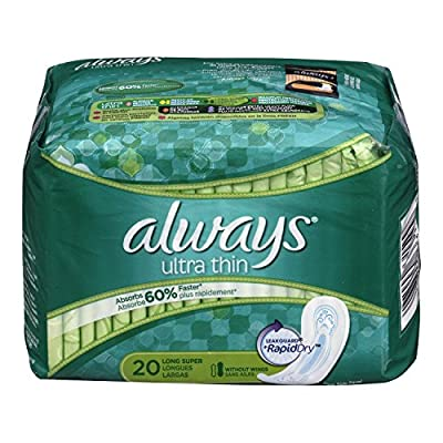 Always Ultra Thin Pads Super Non-Wing Unscented, 20 Count