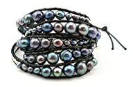 "GingerBird Jewelry ""Peacock Blue Pearls"" Womens Freshwater Pearl Multi wrap 5x times wrap Bracelet…."