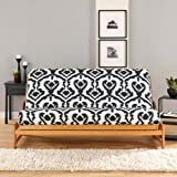 Sure Fit Ikat 1-Piece Futon Slipcover, Black/Ivory