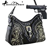 Black Studded Buckle Hobo Conceal and Carry Purse