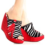 Zebra Print Faux Suede Braided Trim Tassel Peep Toe Wedges