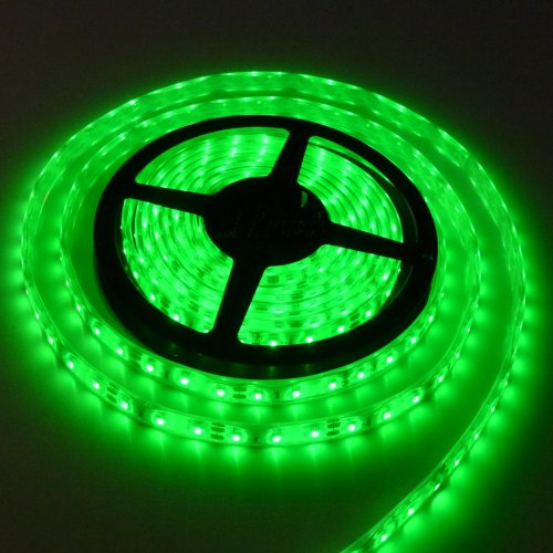 LEDPRO Waterproof 5M 16 ft Reel Flexible LED Ribbon 300 LEDs Green Strip With 3M Tape, 12 Volt, 24 Watt, Linkable