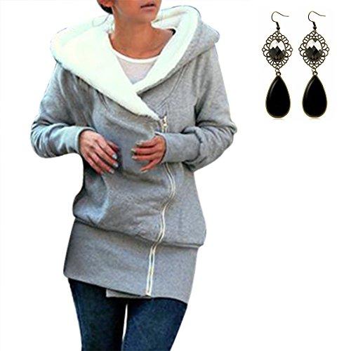 Sitengle Donna Sweatshirt Felpe con Cappuccio Cerniera Obliqua Giacca Hoodies Più Velluto Pullover Casuale Manica Lunga Cappotti Maglietta Tops
