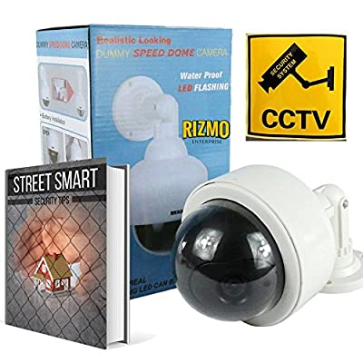 Rizmo - Ultimate Fake Camera Bundle - Indoor outdoor Dome Dummy Camera with blinking Led lights. Fake Camera with free surveillance sign. Realistic looking Dummy security camera with Free Ebook.