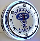 Genuine V8 Ford Parts 18 Double Neon Lighted Wall Clock Sign Blue