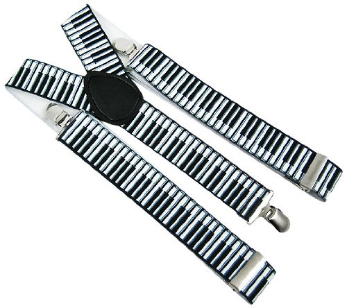 Black / White Piano Key Suspenders Braces Keyboard