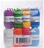 TYH Supplies 8 Skeins Bonbons Yarn Assorted Rainbow Colors 32g (70yd) - 100% Acrylic (Rainbow)