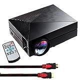 Tera® GM60 ビジネス 劇場 ゲーム 教育 パーティー 用 1000ルーメン 1080P フル HD 小型 ホームシアター LED プロジェクター TFT LCD プロジェクター スライド プロジェクター HDMI AV USB SD 入力対応 リモコン 付き HDMI ケーブル 付き 日本語説明書付