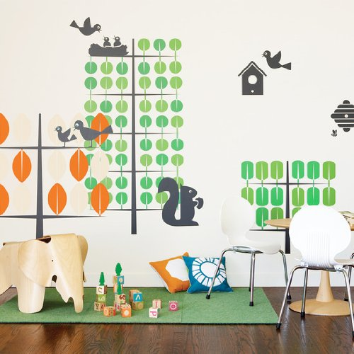 Orange & Green Trees Wall Stickers