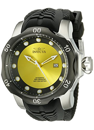 invicta venom homme bracelet silicone noir boitier acier inoxydable automatique cadran jaune. Black Bedroom Furniture Sets. Home Design Ideas