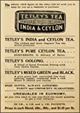 Vintage TETLEY'S TEA India and Ceylon tea, Pure Ceylon, Oolong and Tetley's green and black tea and Reproduction Poster on 200gsm A3 Satin Art Card