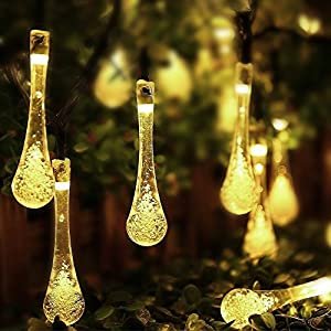 Goodia Warmwhite 4.8M 20 LED Icicle Lights Solar Powered Raindrop Garden String Fairy Lights/ LED Waterproof Decorative Lights for Outdoor, Garden, Patio, Christmas, Xmas Tree, Holiday Party from Dailyart