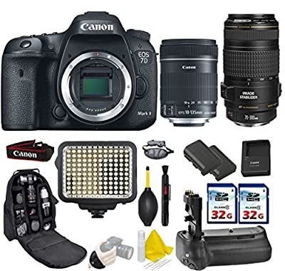 Canon EOS 7D Mark II DSLR Camera + 18-135mm IS STM + Canon EF 70-300mm IS USM + Kit Includes Wide Angle Lens + 2.2x Telephoto Lens + 2Pcs 32GB Commander MemoryCard + Battery Grip + Extra Battery