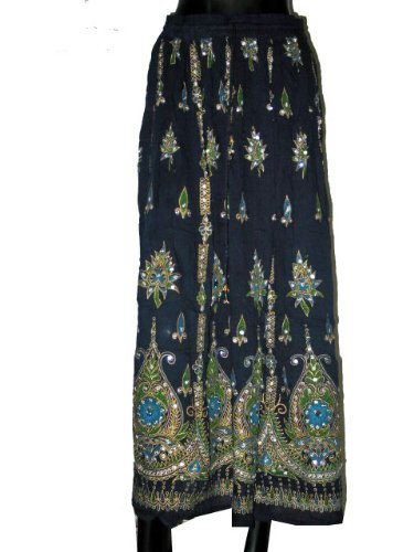 Long Skirts- Stunning Midnight Blue Women's Skirt Beaded Dcrapechic India Bohemian Chic