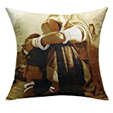 13 Odds Classic Village Woman Print & Embroidery Cushion Cover - Sepia(Brown) Mode, Gold & Silver